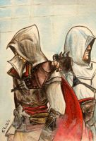 ACEO 44 - Ezio and Altair by Clopina