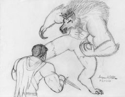 Caiden Voros vs. Werewolf Tom Drake by Maverick-Werewolf