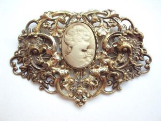 Golden Brooch with Cameo by VictorianRedRose