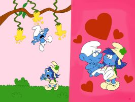 Smurfstorm and Clumsy Smurf by HeinousFlame