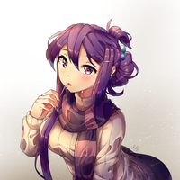 Yuri with a scarf, pocky stick and Kohi's bun by yourcupofkohi