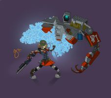 Don't screw with a girl and her robot! by gianenci
