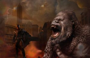 Batman and King-Kong in NY by Mvicen