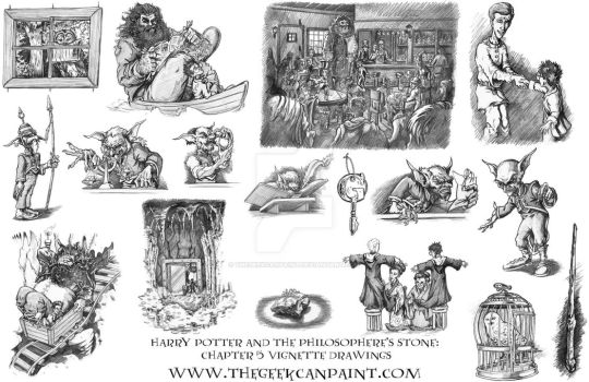 Harry Potter: Book 1 Chapter 5 Vignette Drawings by TheGeekCanPaint