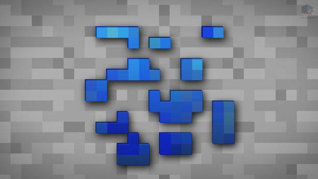 MineCraft Shaded Lapis Lazuli Ore Wallpaper by ChrisL21
