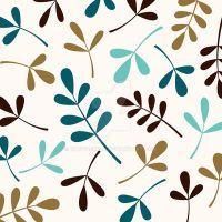 Assorted Leaves Teals Gold Brown Cream by NatPaskell