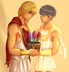 Commission: Apollo and Hyacinth by allarica