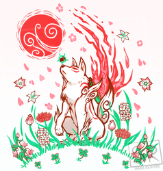 Okami Art - Wolf Blossom Breeze by SarahRichford