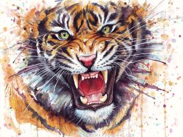Ferocious Tiger Watercolor Painting by Olechka01