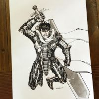 Guts from Berserk ink commission by HJeojeo