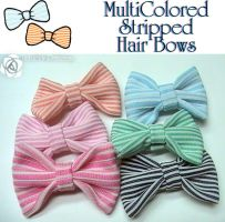MultiColored Stripped Bows by UnluckyPrincess