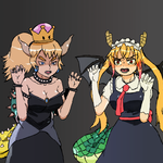 Tohru and princess bowser rawr by CosmicDairyPrairie
