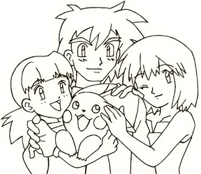 Ash, Misty, their daughter and Pikachu - [Pokemon] by SidselC