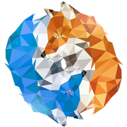 Fire and Ice Foxes FIREFOX Polygon Icon by polygn