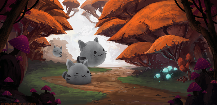 Tabby Slimes In Mushroom Forest by AntonKurbatov