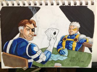 Cable And Nick Fury Playing Cards by GregoryKrazed