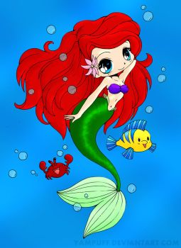 Ariel - The Little Mermaid - Chibi Colored by EvangelinaMoon