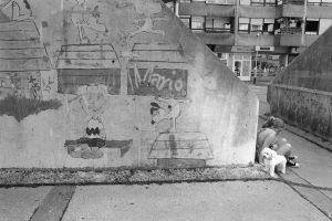 little girl with a dog and Snoopy... by iapostolovski