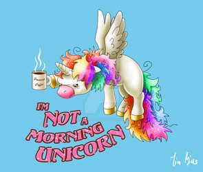 T-shirt design: I'm not a Morning Unicorn by FreeFoxRaguPRINTS