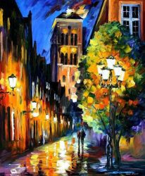 The Lights Of The Old Town by Leonid Afremov by Leonidafremov