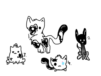 Black and white cat adopts by BubblyMint