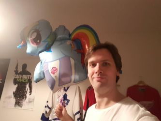 Rainbow Dash balloon and me by EgonEagle