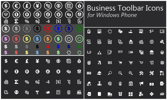 Business Toolbar Icons for Windows Phone Demo by fawkesbonfire