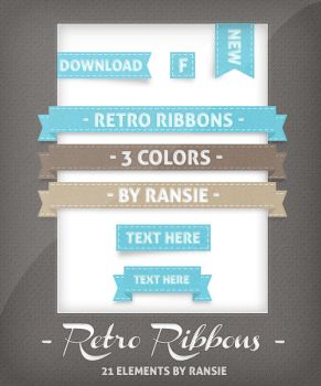 Retro Ribbons and Buttons by Ransie3