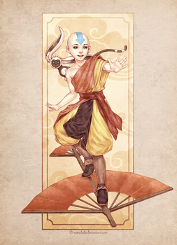 Aang and Momo by Nukababe