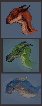 More Dragon Heads by Aazure-Dragon