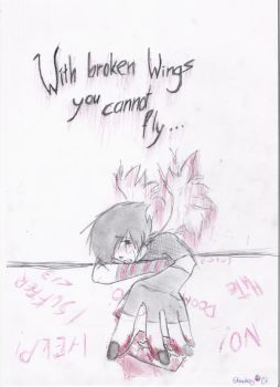 With broken wings... by Strawberry-Syu