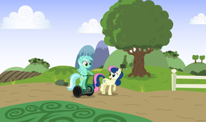 Segway Lyra and Bon Bon - PNG by Larsurus
