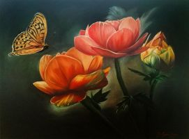 Flowers and butterfly by Niruh