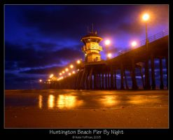 Huntington Beach Pier By Night by strangledbyart