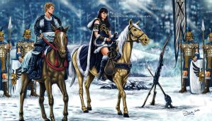 Xena and her soldiers by aaronwty