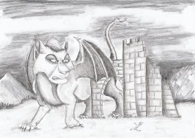 Chimera in Castle Ruins by Louisetheanimator