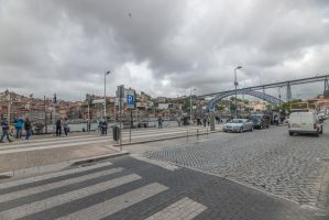 sweet Portugal - bridge people cars houses n bird by Rikitza