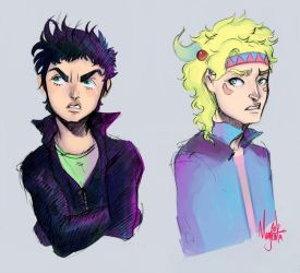 JJBA :: Joseph and Caesar got a bad fight? by Magntaa