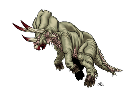 Dino Zombie Triceratops by ProdigyDuck