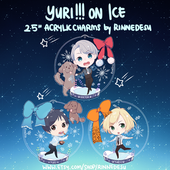 GIVEAWAY/PREORDERS Yuri!!! on Ice Acrylic Charms by rinnedesu