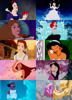 Disney Princesses and their dreamy moments by Midnightrosesblood