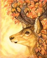 Autumn Stag by KettleQuill