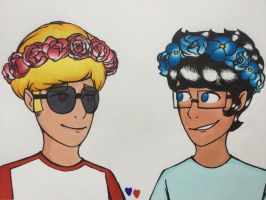 John and Dave: Wear flowercrowns by Paula-Zotter