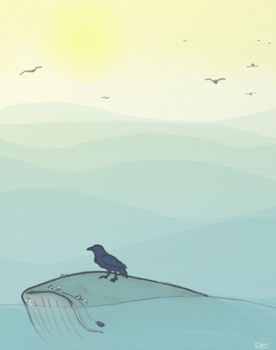 Crow With A Whale by WaterlightFading