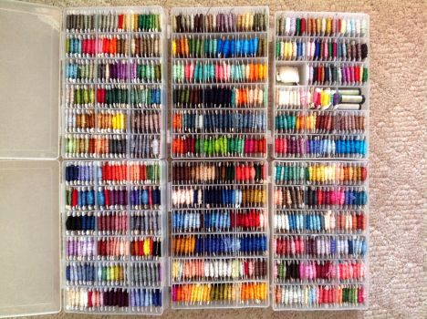 Colorful Boxes of Thread by pinkythepink