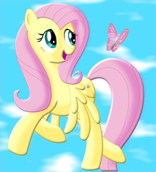 Fluttershy and a butterfly by MrSpanyard