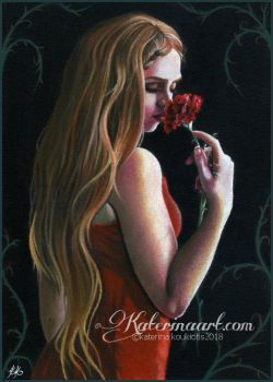 Lady In Red - Pastel Drawing Fantasy Art by Katerina-Art