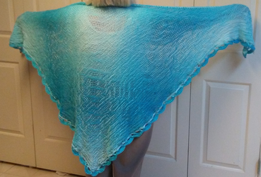 Blue Omber shawl with edging by CherokeeCampFireGirl