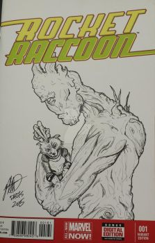 Marvel Rocket and Groot Sketch Cover by PrototypeInks
