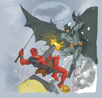 Batman vs deadpool drawing (Colored) by electronicdave